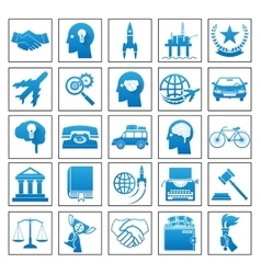 Icons business travel sport law set retro flat vector