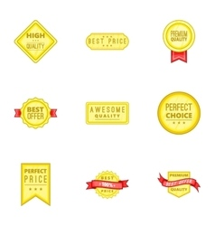 Label quality icons set cartoon style vector