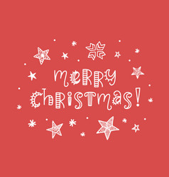 merry christmas card typography poster design vector image vector image