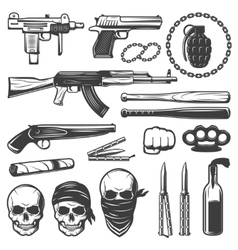 Monochrome Gangster Elements Set vector image vector image