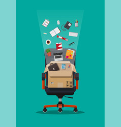 office chair and box with office itmes vector image
