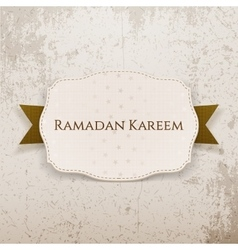 Ramadan kareem emblem with text and ribbon vector