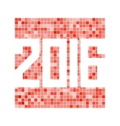 red mosaic background with 2016 figures vector image
