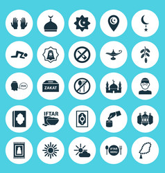 Religion icons set collection of building midday vector
