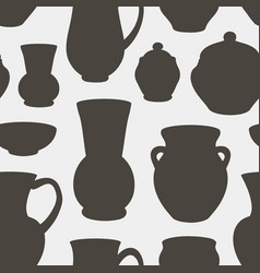 Rustic ceramic utensils pattern vector
