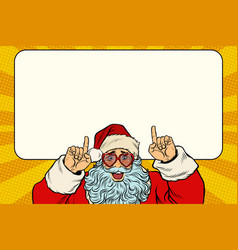 santa claus points to the white background vector image vector image