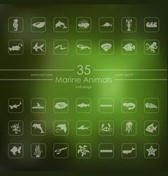 Set of marine animals icons vector