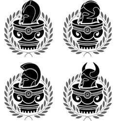 set of medieval helmets vector image