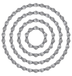 Set of round frames made of metal bicycle chain vector