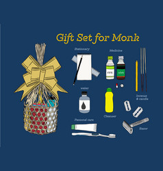 sets of consuming items in a basket for offering vector image