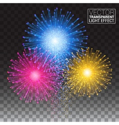 Shiny tricolor firework on the dark sky Festive vector image vector image