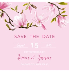 Wedding invitation card - with floral magnolia vector