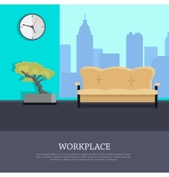 Workplace Concept in Flat Style Design vector image vector image