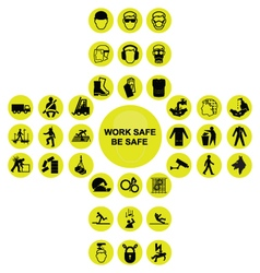 Yellow cruciform health and safety icon collection vector image vector image