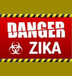 Zika virus danger sign with reflect vector