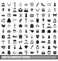 100 glamour icons set simple style vector