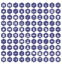 100 smuggling icons hexagon purple vector