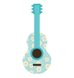 Guitar instrument floral icon vector