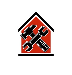 Spanner and mallet crossed industrial utensil vector