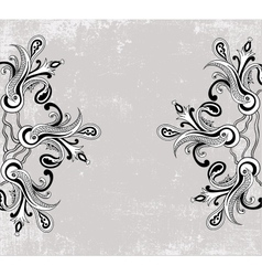 Black and white paisley ornament vector