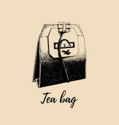 hand drawn tea bag isolated retro vector image