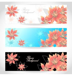 Set flowers banners on white blue black background vector