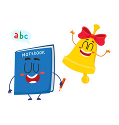 Funny smiling bell and notebook characters back vector