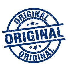 Original blue round grunge stamp vector