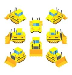 Isometric yellow bulldozer vector