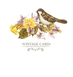Floral retro card with bird sparrows vector