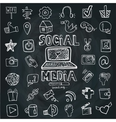 Social media word and icon setdoodle sketchy vector