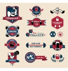 Cross fit fitness and sport labels vector