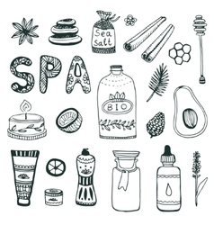 Spa hand dawn collection beauty icon set vector