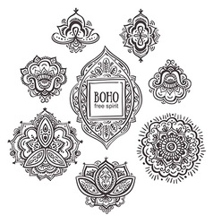 Beautiful indian floral ornaments set of vector