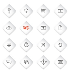 Seo and development simply icon set vector