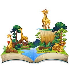Book of giraffes living by the river vector