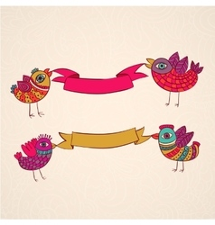 Birds ribbons banner design template vector