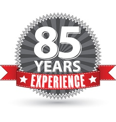 85 years experience retro label with red ribbon vector image vector image