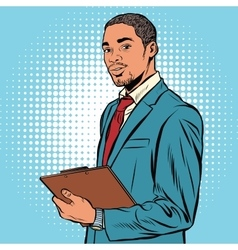 Black businessman with documents vector
