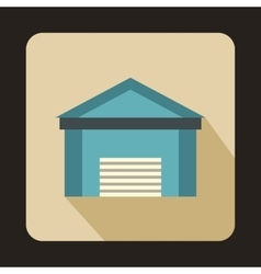 Blue garage icon flat style vector