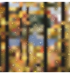 Autumn forest landscape with droplets vector image vector image