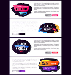 black friday set of web posters with sale labels vector image