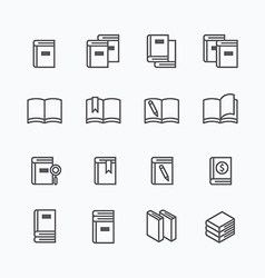 Book flat line icons design set vector