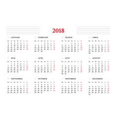 calendar for 2018 year on white background design vector image