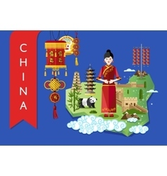 China landmarks and travel map on blue background vector