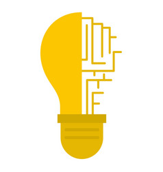 Circuit board inside light bulb icon isolated vector