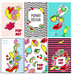 Comic colorful fashion patches brochures vector