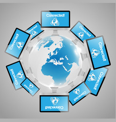 computers around the world vector image