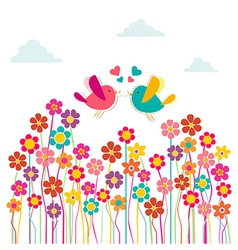 Cute social birds love vector image vector image