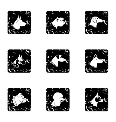 Dog icons set grunge style vector